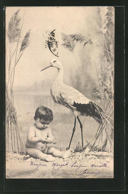 AK Storch mit Baby