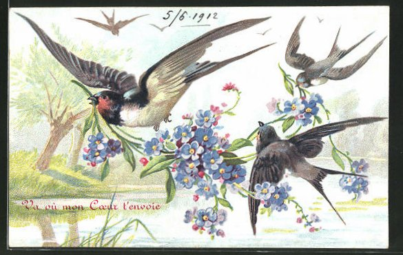 AK Vögel mit Blumen in der Luft 0