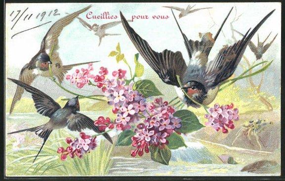 AK Vögel mit Blumen in der Luft