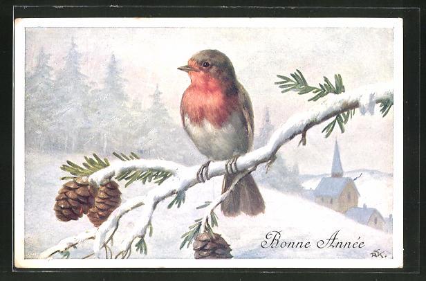 AK Vogel auf einem Zweig, Neujahrsgruss