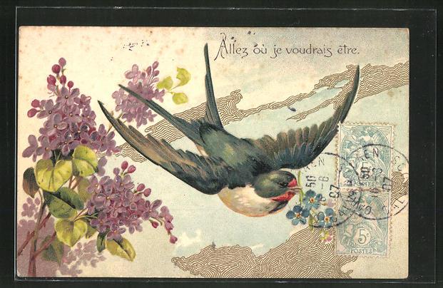 Präge-AK Vogel in der Luft über einem See und Blüten
