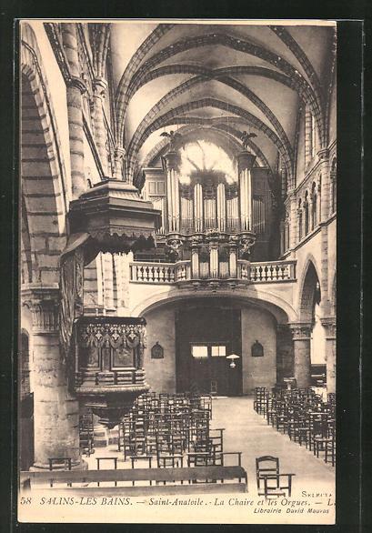AK Salins-les-Bains, Saint Anatoile - La Chaire et les Orgues, Orgel