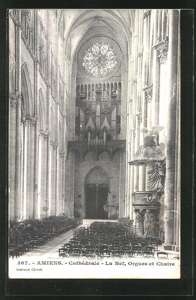 AK Amiens, Cathèdrale - La Nef, Orgues et Chaire, Orgel
