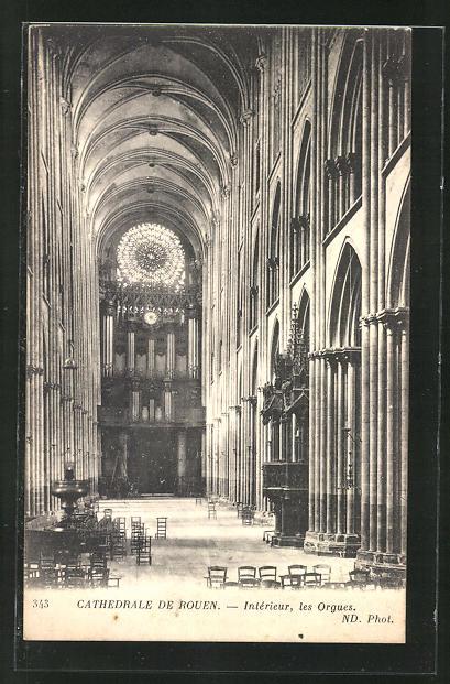 AK Rouen, Cathèdrale-Interieur, les Orgues, Orgel 0