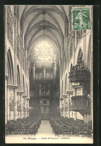 AK Dieppe, Eglise St. Jaques -Intèrieur, Orgel 0