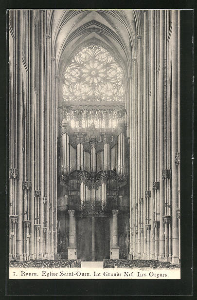AK Rouen, Eglise Saint-Ouen, La Grande Les Orgues, Orgel