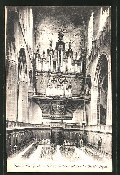AK Narbonne, Intèrieur de la Cathèdrale - Les Grandes Orgues, Orgel