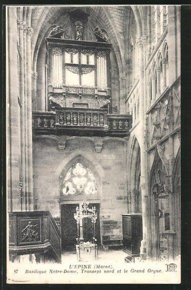 AK L'Epine, Basilique Notre-Dame, Transept nord et le Grand Orgue 0