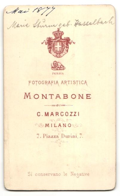 Fotografie C. Marcozzi, Milano, Portrait hübsche Dame mit Hochsteckfrisur in elegant gerüschter Bluse 1