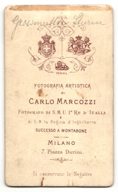 Fotografie Carlos Marcozzi, Milano, Portrait schöne Dame mit Hochsteckfrisur in elegant gerüschter Bluse 1
