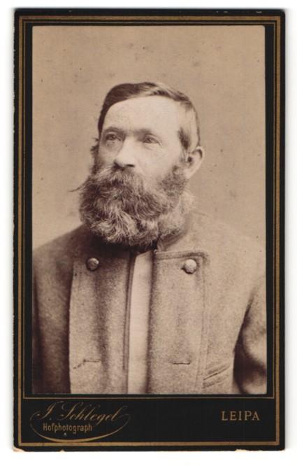 Fotografie J. Schlegel, Leipa, Portrait charmanter betagter Herr mit Vollbart in grauer Jacke 0