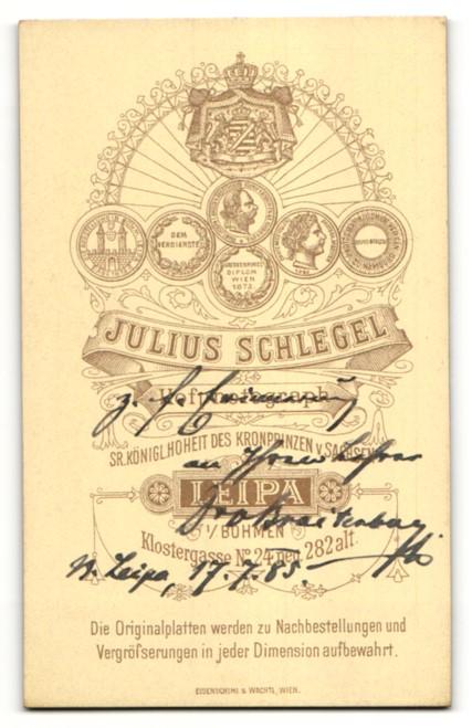 Fotografie J. Schlegel, Leipa, Portrait charmanter Herr mit Mittelscheitel, Schnurrbart und Brille 1