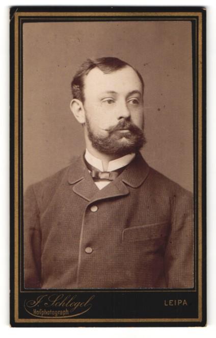 Fotografie J. Schlegel, Leipa, Portrait charmanter Herr mit Vollbart und dunklem Haar im Anzug