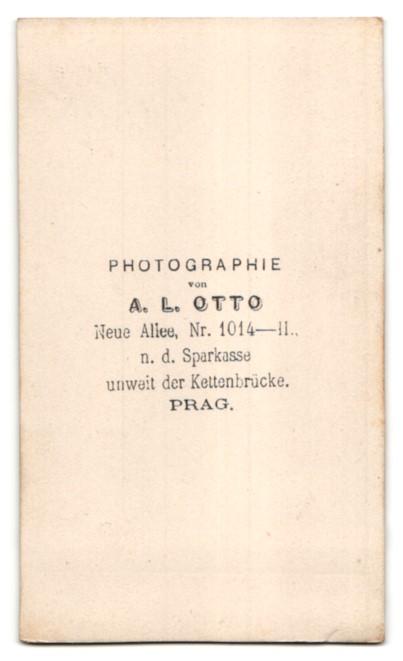 Fotografie A. L. Otto, Prag, ältere Dame im prachtvollen Kleid mit Rüschenhaube 1