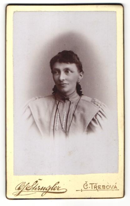 Fotografie G. Stangler, C. Trebová, Portrait Frau mit zusammengebundenem Haar