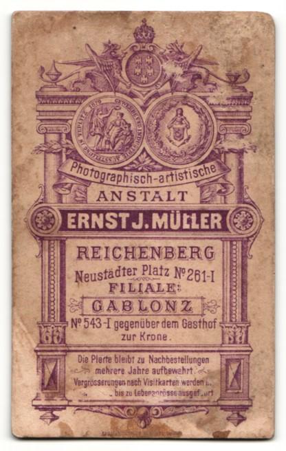 Fotografie Ernst J. Müller, Reichenberg & Gablonz, Portrait Frau mit zusammengebundenem Haar 1