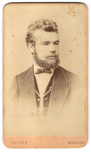 Fotografie F. Bietler, Szegeden, Portrait junger Mann mit Vollbart 0