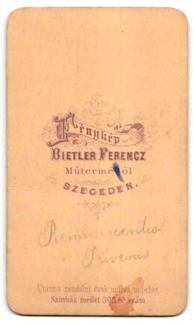 Fotografie F. Bietler, Szegeden, Portrait junger Mann mit Vollbart 1