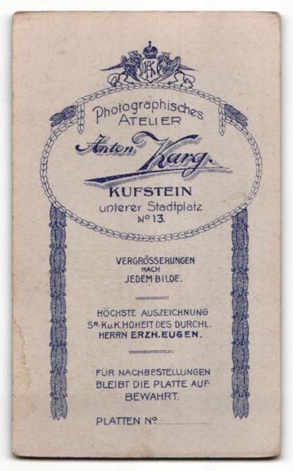 Fotografie Anton Karg, Kuftsein, Portrait Frau mit zusammengebundenem Haar 1