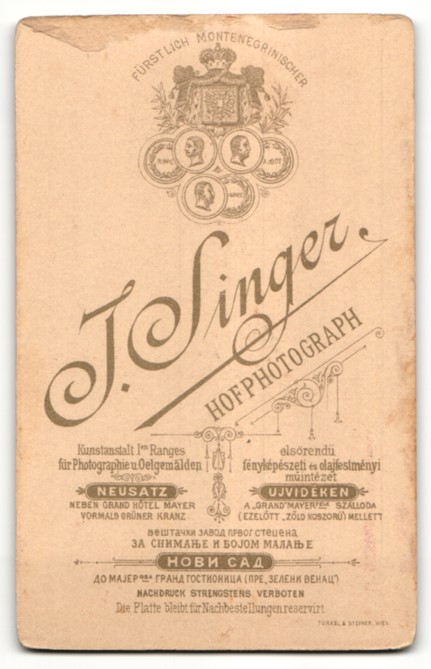 Fotografie Singer J., Neusatz, Portrait Herr mit Oberlippenbart 1