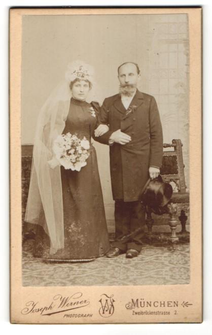 Fotografie Joseph Werner, München, Portrait Braut und Brautvater
