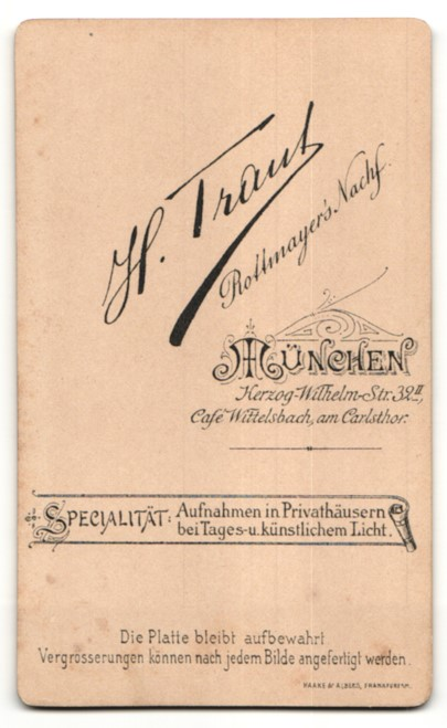 Fotografie H. Traut, München, Portrait junges bürgerliches Paar 1