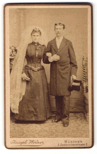 Fotografie Joseph Werner, München, Portrait Braut und Bräutigam