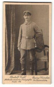 Fotografie Rudolf Kahl, München-Pasing, Soldat in Feldgrau