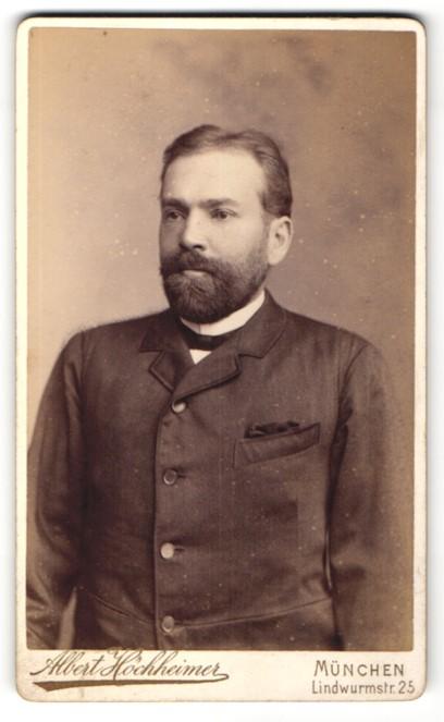 Fotografie Albert Höchheimer, München, Portrait Herr mit Bart