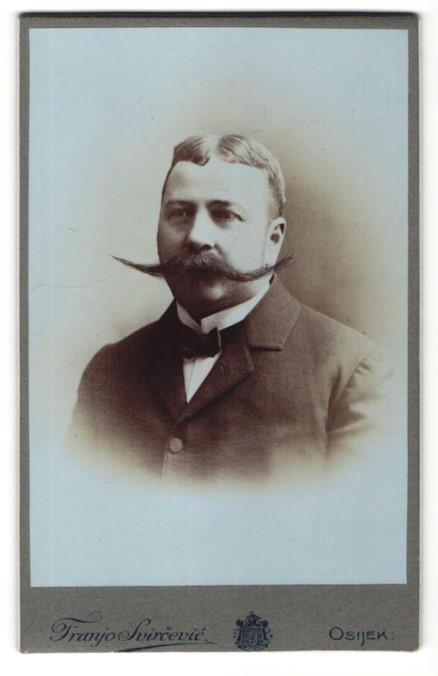 Fotografie Franz Svircevic, Osijek, Portrait Herr mit imposantem Schnauzbart 0