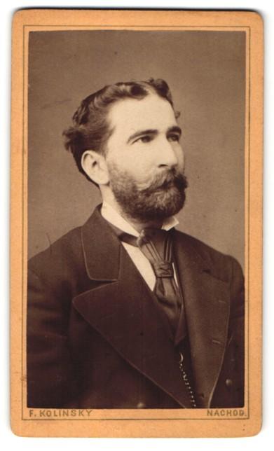 Fotografie F. Kolinsky, Náchod, Portrait Herr mit zeitgenöss. Frisur