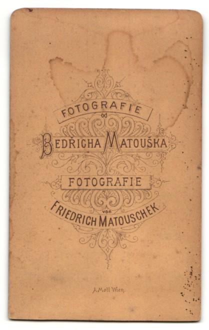 Fotografie F. Matousek, unbekannter Ort, Portrait betagter Herr mit zeitgenöss. Frisur 1