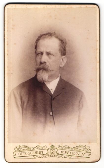Fotografie Otto Schmidt, Wien, Portrait Herr mit Kinn- und Oberlippenbart
