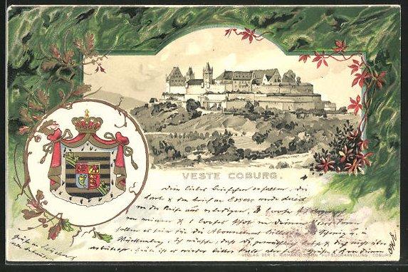 Passepartout-Lithographie Coburg, Sicht auf die Veste Coburg mit Wappen 0