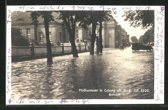 AK Coburg, Partie am Bahnhof, Hochwasser am 5.-6. Juli 1926 0