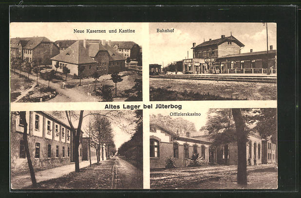 AK Jüterbog, neue Kaserene und Kantine, Bahnhof, Offizierskasino 0