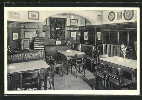 AK Coburg, Gasthaus Loreley, Innenansicht 0