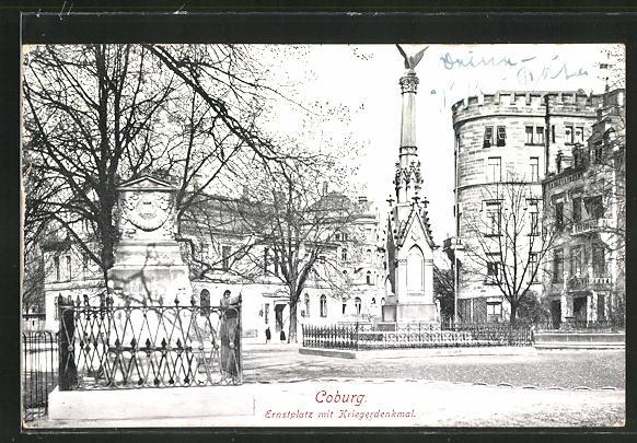 AK Coburg, Strasse am Ernstplatz mit Kriegerdenkmal 0