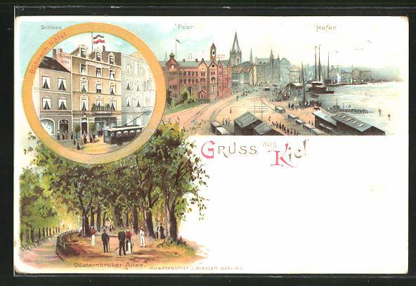 Lithographie Kiel, Bührsch Hotel, Post und Hafen 0