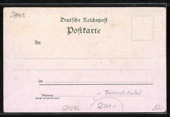 Lithographie Kiel, Bührsch Hotel, Post und Hafen 1