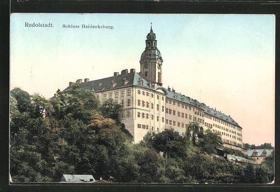 Goldfenster-AK Rudolstadt, Schloss Heidecksburg mit leuchtenden Fenstern 0