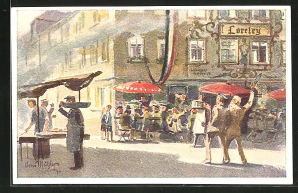 Künstler-AK Coburg, Strassenpartie am Gasthof Loreley 0