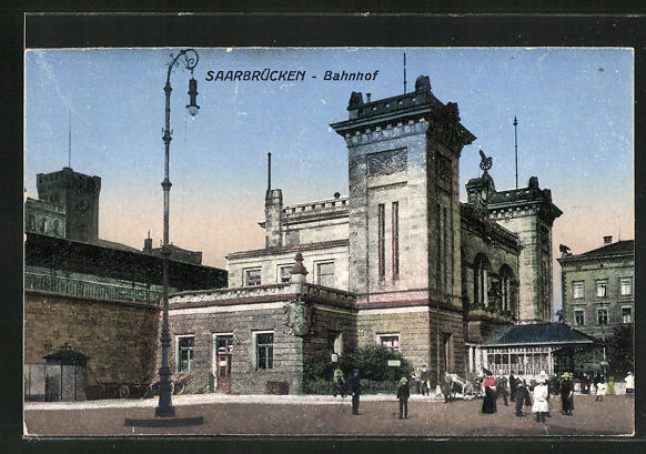 AK Saarbrücken, Ansicht vom Bahnhof 0