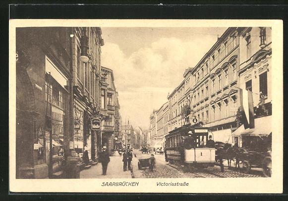 AK Saarbrücken, Strassenbahn in der Victoriastrasse 0