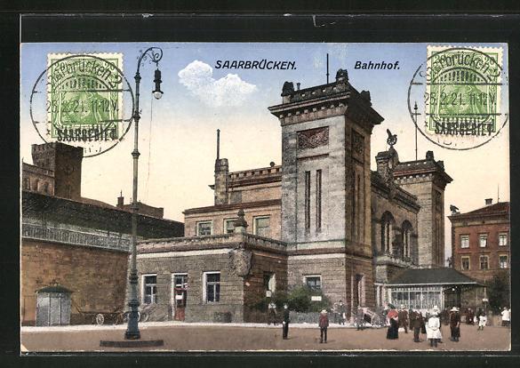 AK Saarbrücken, Blick auf den Bahnhof 0