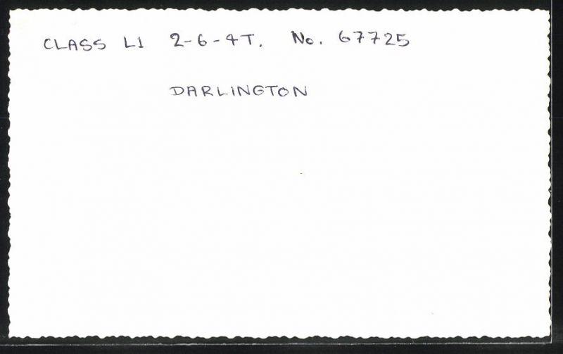 Fotografie Fotograf unbekannt, Ansicht Darlington, Dampflok Class L1, Lok-Nr.: 67725, Eisenbahn England 1