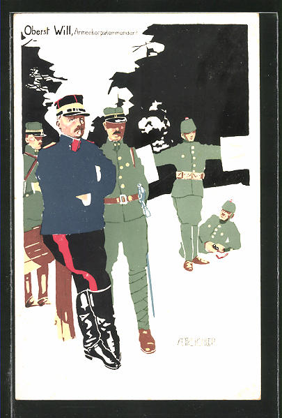 AK schweizer Armeekorpskommandant Oberst Will und Soldaten
