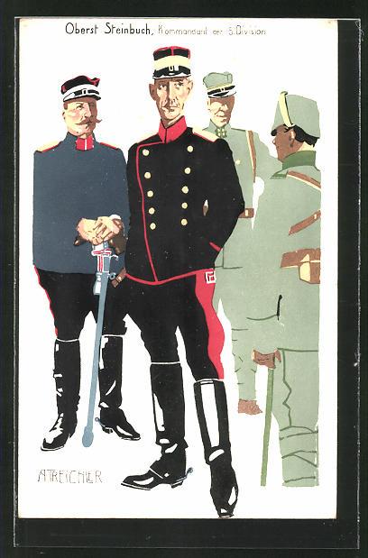 AK schweizer Kommandant der 5. Division Oberst Steinbuch und Soldaten 0