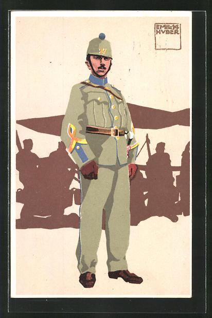 Künstler-AK sign. Emil Huber: Soldat in Uniform 0