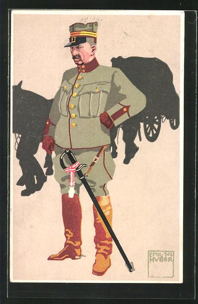 Künstler-AK sign. Emil Huber: 5. schweizer Train. Oberst-Lieutnant in Felduniform
